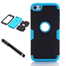 iPod Touch 6th Generation Case,Lantier 3 Layers Verge Hybrid Soft Silicone Hard PC Plastic TUFF Triple Quakeproof Drop Resistance Protective Case Cover with Stylus Palm Black/Blue