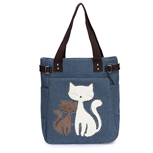 Cute Cat Multifunction Canvas Zipper Handbag Shoulder Lunch Tote Bag