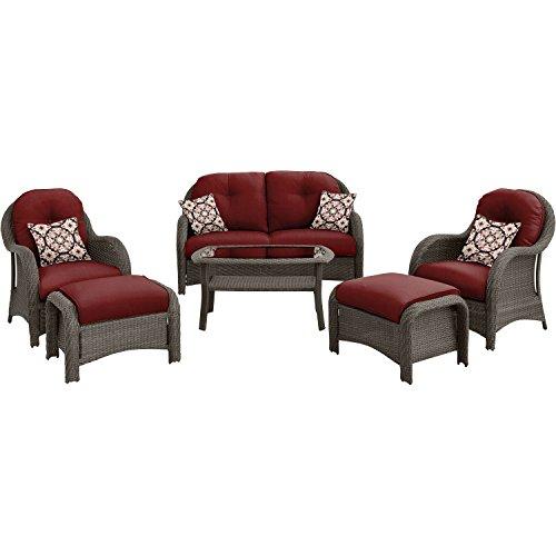 Cambridge MORROW6PC-RED Morrow, Crimson Red 6 Piece Woven Seating (Cambridge Rectangular Table)