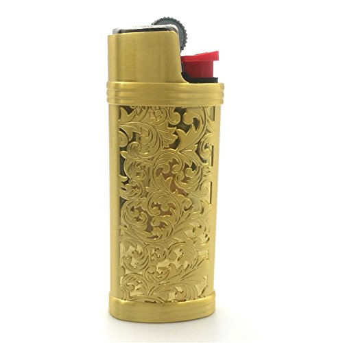 Lucklybestseller Gold Color Vintage Metal Lighter Case Cover Holder For Mini BIC Lighter (Gold Lighter)