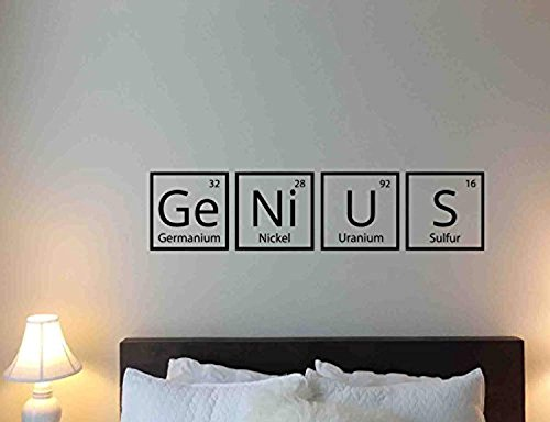 Atopdecals Science Wall Decal Genius Periodic Table Elements School Chemistry Quote Library Motivation Study Learning Vinyl Sticker Classroom Home Bedroom Nursery Decor Art Poster Mural Custom SW 703