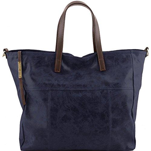 Tuscany Leather Annie - Bolso shopping TL SMART en piel efecto antiguo - TL141552 (Azul oscuro) Azul oscuro