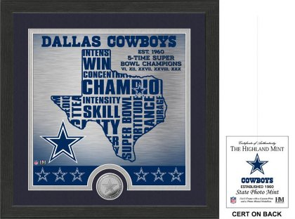 (NFL Dallas Cowboys State Minted Coin Photo Mint, 18 x 14 x 3)
