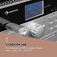 auna Mary ANN Tocadiscos - Dab+, 24W máx, Reproductor de CD ...