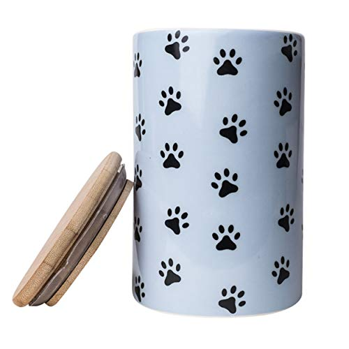 Park Life Designs Pawz Treat Jar, Stylish Heavyweight Ceramic Container for Treats and More, Bamboo Lid with Airtight Silicone Seal, Dishwasher Safe 6-1/2 inch Tall Canister, Blue