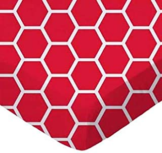 product image for SheetWorld Fitted Crib / Toddler Sheet - Red Honeycomb - Made In USA