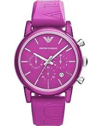 Armani Classic Chronograph Fuchsia Dial Fuchsia Silicone Strap Mens Watch AR1059