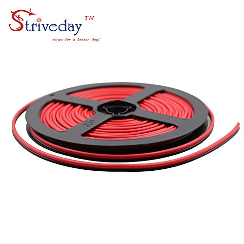 Color Coded Single - striveday trade; 28ga 10meter/ 32.8FT 2 Conductor 2PIN Red/Black Hook up Wire 12V DC 2468 28AWG RED BLACK wire for Led Strips Single Color 3528 5050