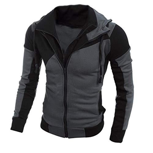 (SCSAlgin Fashion Men Retro Long Sleeve Hoodie Hooded Sweatshirt Tops Coat Jacket Outwear (Black, 3XL))
