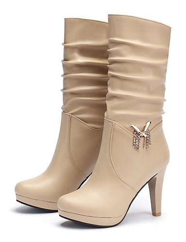 Uk6 Punta La Vestido Botas Semicuero Zapatos De Brown Eu35 Redonda Almond beige Stiletto Xzz Eu39 botas us5 Cn39 marrón Uk3 Tacón us8 Cn34 Moda Negro Mujer A qvRCxYw