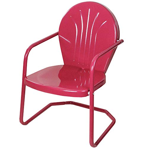 (LB International Retro Style 34 Inch Outdoor Metal Tulip Chair, Raspberry Pink)