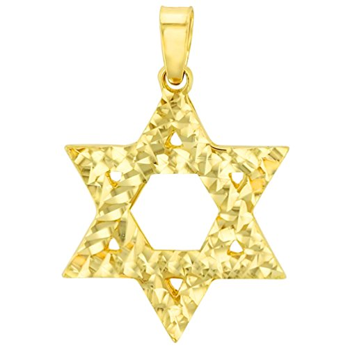 (Solid 14K Yellow Gold Textured Elegant Star of David Pendant)