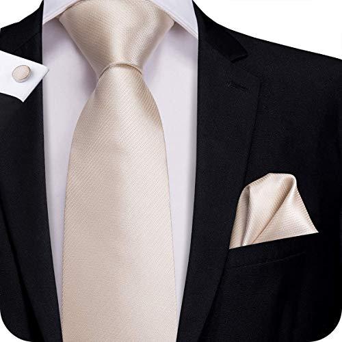 Hi-Tie Men Solid Tie Pocket Square Cufflinks Set Pure Color Necktie Wedding Ties Gift Box (champagne)
