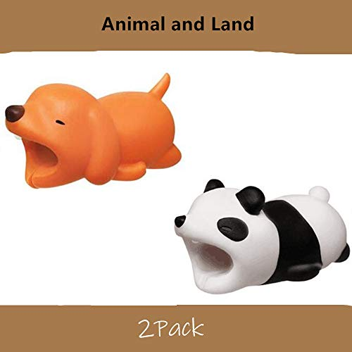 (YMH Cable Protector for iPhone iPad Cable Plastic Cute Land Animals Phone Accessory Protects USB Charger Data Protection Cover Chewers Earphone Cable Bite 2 PC (Dog&Panda))