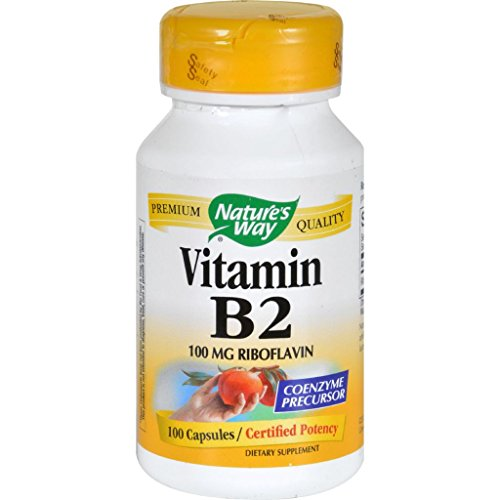 Nature's Way Vitamin B-2 - 100 mg - 100 Capsules (Metal Eye Patch)