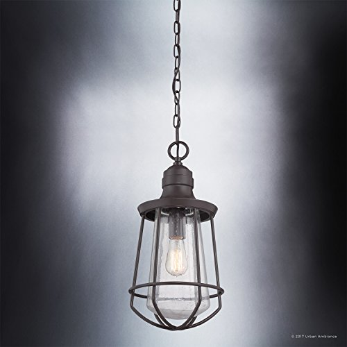 Luxury Vintage Outdoor Pendant Light, Large Size: 20''H x 9.5''W, with Nautical Style Elements, Cage Design, Estate Bronze Finish and Seeded Glass, Includes Edison Bulb, UQL1125 by Urban Ambiance by Urban Ambiance (Image #4)