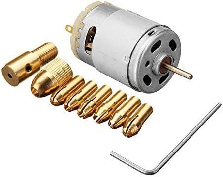 Gulakey DC 12V 500mA Mirco Motor with 5pcs 0.5-3.0mm Drill Collet Electric PCB Tool Set