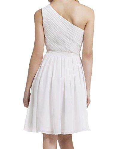 Shoulder Pleat Bridesmaid Steel One Length Knee Dress Prom Short Dress Grey JAEDEN Gown Chiffon wxRpPqpF