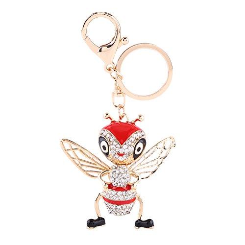 1 Light Honey Pendant - 1pc Cute Crystal Bee Honeybee Keyring Keychain Accessory for Car Decoration Bag Pendant(Red)
