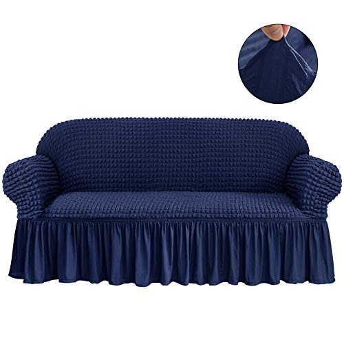 (CHUN YI 1-Piece All-Purpose Universal Easy Fitted Loveseat Sofa Couch Cover Stretchable High Elasticity Durable Furniture Protector 2 Seats Love Seat Sofa Slipcover with Skirt (Loveseat, Navy))