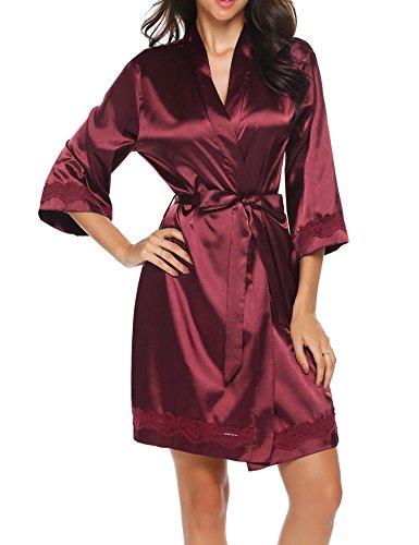 S XXL Pizzo da in Nightdress Corto Pigiama Donna Notte Kimono a a Scollo V Manica Rosso Vestaglia Raso Camicia 4 da e 3 Unibelle Notte BgwRxO1qw
