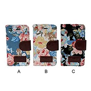 GHK - Small Fresh Flowers Pattern Full Body Leather Case with Stand for iPhone 4/4S , C