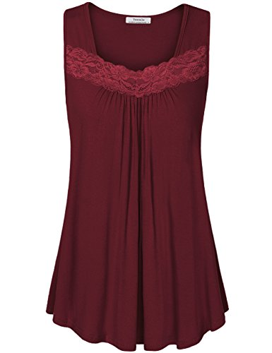 Cotton Square Neck Tunic (Youtalia Summer Sleeveless Tops, Women's Stylish Square Neck Floral Lace Pleats Shirts Tank Tops For Leggings Wine M)