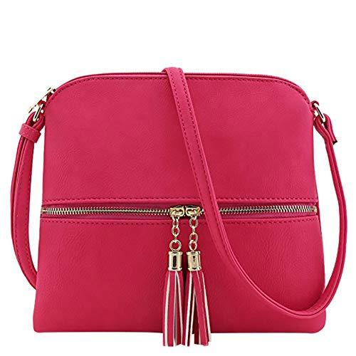 Zipper Bags Bag Messenger Borgogna Color Messenger Pure Shoulder Solid Wwddvh Tassel Donna 5CqwOAO