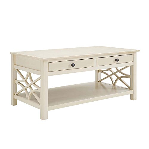 Linon Whitley Antique White Coffee Table - Linon Living Room Coffee Table