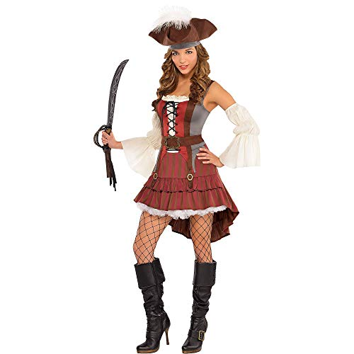 AMSCAN Castaway Pirate Halloween Costume for Women, Small, with Included -