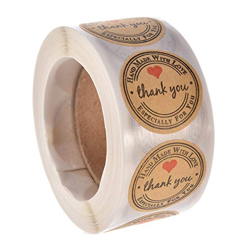 Feeko Labels,500pcs Kraft Paper Thank You for Making Love with Red Love Round Stickers (Printable Boxes)