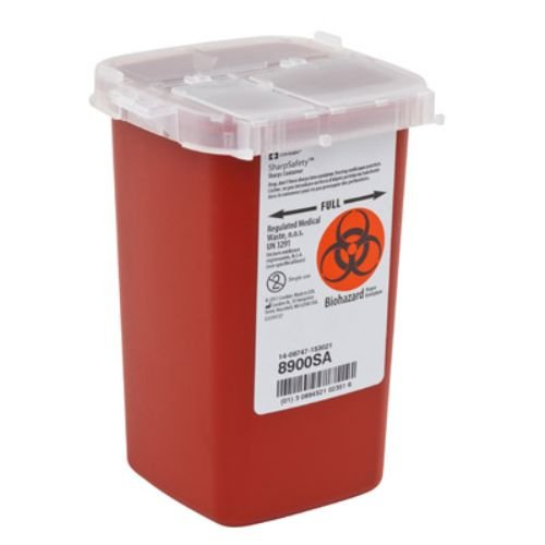Covidien 8900SA SharpSafety Sharps Container, Phlebotomy, 1 quart Capacity, Red (Pack of 100)