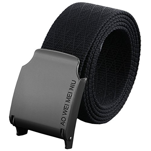 "moonsix Nylon Web Belts for Men,Solid Color Military Style 1.5"" Wide Flip Top Belt,Black"