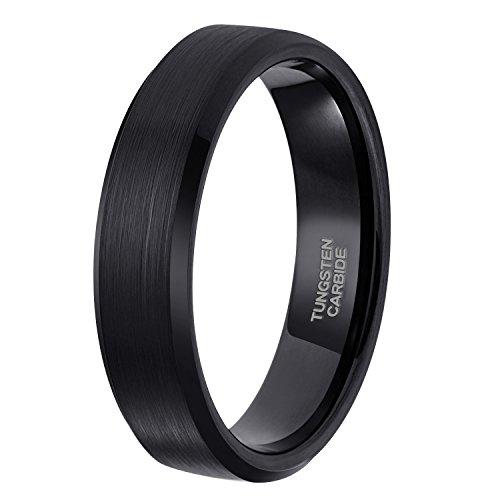 Shuremaster Black Tungsten Rings For Men Brushed Beveled Edge Comfort Fit Wedding Band 6mm Size (Black Date Ring)
