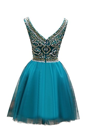 ALfany Women's Beaded Tulle Scoop Neckline A Line Mini Party Dresses US16