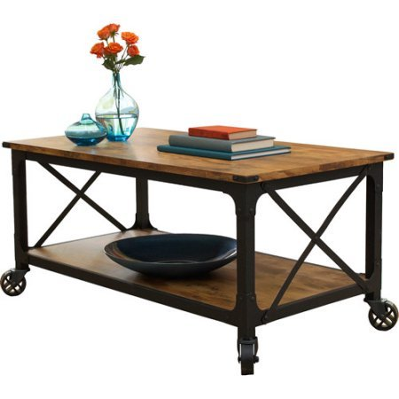 "Better Homes and Gardens Rustic Country Coffee Table for Flat-Panel TVs up to 42"", Antiqued Black/Pine Finish"