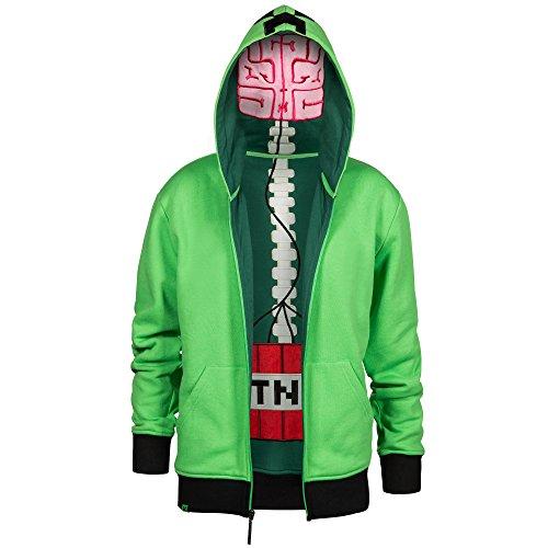 JINX Minecraft Big Boys' Creeper Anatomy Premium Zip-Up Hoodie (Green, (Creeper Hoodie Minecraft)