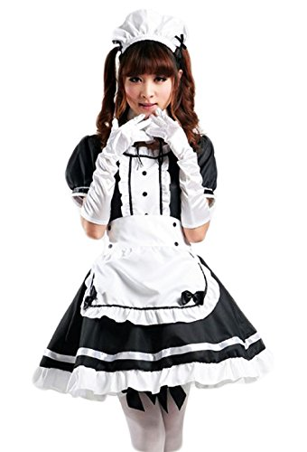 PLUSYARD Japan Anime Lolita Dress French Maid Costumes Plus Size 2XL Black -