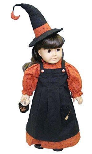 Ropa de muñeca americana para niñas | Disfraz de bruja princesa con accesorios | Ropa de muñecas de 18 pulgadas bien hecha (juego de 4 piezas)