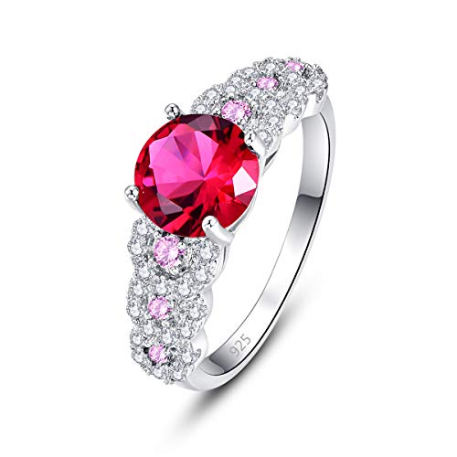 Humasol 925 Sterling Silver Filled Lab-Created Ruby Spinel Promise Proposal Engagement Wedding Rings for Women Girl Size - Emerald 7x5 Sterling