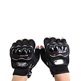 Probiker Leather Half Finger Motorcycle Gloves (Black, L), large