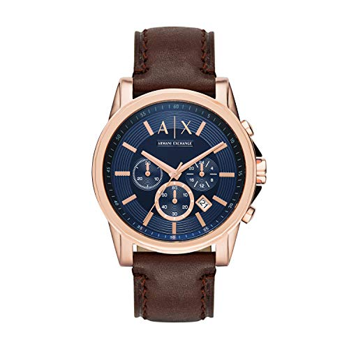 A|X Men's Brown Leather Watch -