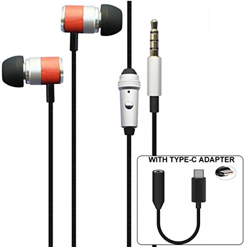 5d0640e7bd3 Moto Z2 Force Compatible Premium Sound Handsfree Headset Mic Earphones with  TYPE-C Audio Adapter
