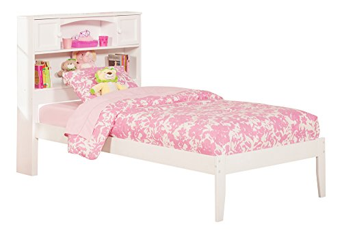 Newport Bookcase Bed with Open Foot Rail, Twin, White