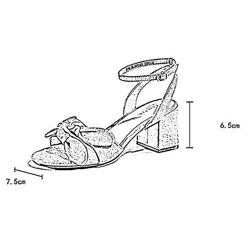Tondo fine dei Toma Bocca donna Scarpe EU36 13cm 3 CN35 Tacco Tacco Strass da alti 5 UK3 dimensioni Tacchi Pendio sandali Superficiale 4 Scarpe Colore LHA Paillettes dY8X77qxw