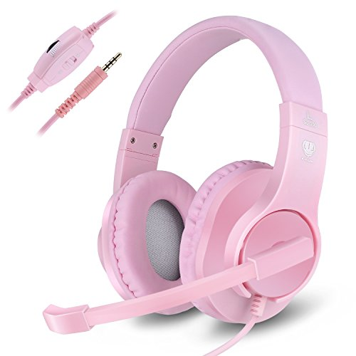 Gaming Headset, Kearui 3.5mm Wired Stereo Sound Over Ear [ One Key Mute ] Headphones with Noise Isolation Mic for Laptop/Tablet/Mobile Phones/PS4/Xbox one (Pink)