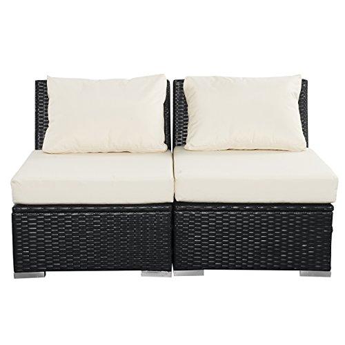 Wonlink Patio White Wicker Rattan Furniture Sectional,Outdoor/Indoor Wicker Sofa Sets 2 Pieces Fitness for Bedroom,Garden,Living Room