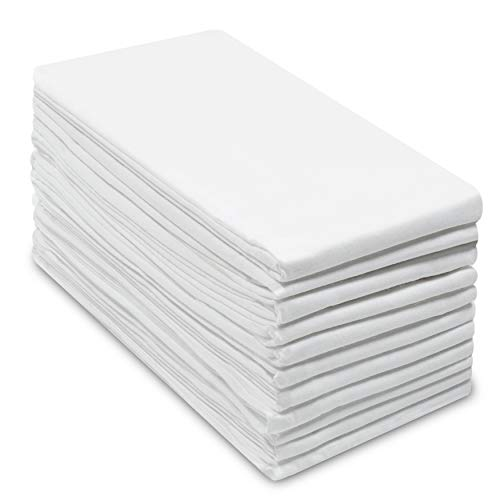 Cotton Craft -12 Pack Flour Sack Kitchen & Dish Towels - Also Used as Napkins - 100% Pure Ringspun Cotton - White - 28x28 Heavy Weight 900 Gram / 32 ()
