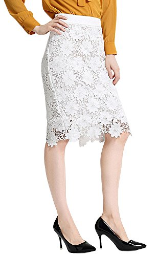 Afibi Women's High Waist Plus Size Office Wear Bodycon Pencil Skirt (Medium, White) from Afibi