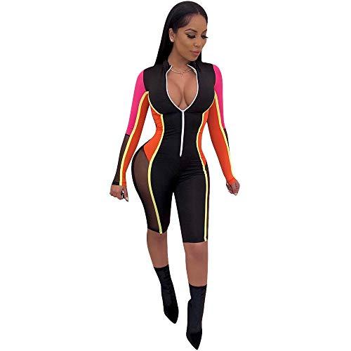 Annystore Women Athletic Mesh Jumpsuit Sexy Zip Front Stripe Plus Size Splice Bodycon Club Romper (Medium, Orange)